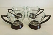 Vintage Set Of 4 Glass With Maroon Plastic Handle Frame 4 Oz Mugs
