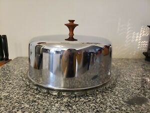 VINTAGE MID CENTURY GLASS CAKE PLATE w STAINLESS STEEL CHROME LID