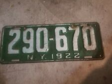 New York 1922 License Plate 290-670