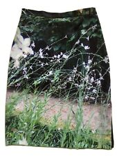 AGNES B. Photo Print Pencil Skirt Sz 36 Floral Pastoral Scene