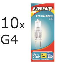 10 x Eveready G4 Eco 20W Halogen Capsule Bulb 280 Lumens 12V Lamp Warm White