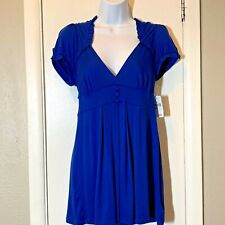 NWT Lush Womens Large Baby Doll Top Blue Short Sleeve Shirt Ruffles New