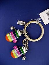 COACH Legacy Stripe Mittens Key Fob Ring Chain Nickel Crystals Charm 93027B NIB
