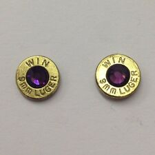 38 Special, 357, 40 Caliber Bullet Jewelry Ammo Birthstone Earrings 9mm,
