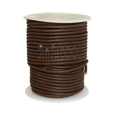 2.5 mm round matte brown leather cord 5 yards secton (spool is not included)