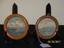 Hawaian Artist Pair Miniature War Time Seascape Paintings Oak Wood Oval Frames