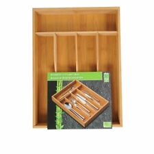 5 COMPARTMENT WOODEN CUTLERY TRAY BAMBOO WOOD UTENSIL STORAGE ORGANISER DRAWER