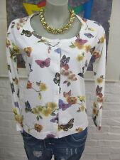 B.C. Best Connetions Shirtjacke  Eur.40 Weiß mit bunt Schmetterlig-Motiv Langarm