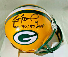 BRETT FAVRE / HALL OF FAME / AUTOGRAPHED PACKERS LOGO MINI HELMET / FAVRE HOLO