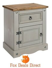 Bedside Cabinet Corona 1 Door 1 Drawer Grey Washed Pine Bedroom Table Cupboard