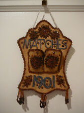 ANTIQUE 1901 NATIVE AMERICAN INDIAN IROQUOIS BEADED BEADWORK MATCH SAFE HOLDER