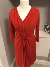 John Lewis Red Ruched Bodycon Pencil Dress Knee Length Size 18