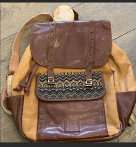 The Sak Full Size Backpack Brown Leather/Jute/Cotton Tribal Accent Bag Travel