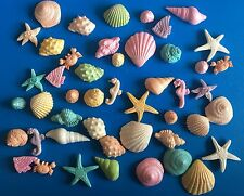 40x Edible Sea shells Starfish Crabs Seahorse Kids cake toppers/decorations