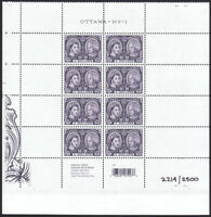 NUMBERED #2214 = QUEEN = LL MiniSheet of 8 from UNCUT sheet # 2540ai Canada 2012