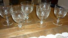 SET  6 VINTAGE 1930'S HEAVY CUT CRYSTAL GOOD SIZED WINE/WATER GLASSES STUART VGC