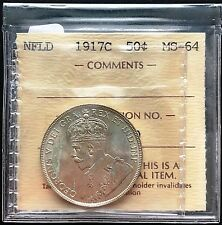 1917c Newfoundland Silver 50 Cents Half Dollar Coin ***ICCS Graded MS-64***