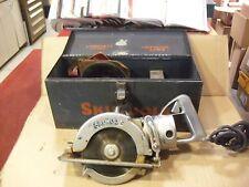 Vintage Skil Model 77 Worm Drive Saw With Metal Case & Blades