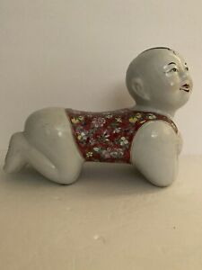 Antique Chinese famille rose Statues porcelain young boy