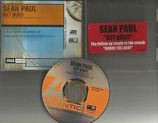 SEAN PAUL Get Busy w/ RARE RIDDIM INSTRUMENTAL PROMO DJ CD single 2002 USA