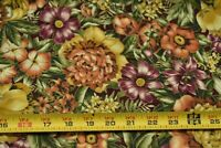 By 1/2 Yd, Colorful Floral with Metallic-Gold on Quilt Fabric, Cranston, N5516