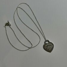 "Return to Tiffany & Co. Heart Tag Pendant Chain Necklace 925 Silver 19"" (A54)"