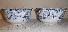 222 FIFTH 4 Beveled Dinner Bowls Blue White Adelaide Toile Bird Flowers