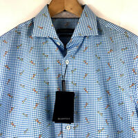 Bugatchi Men's Long Sleeve Turquoise Blue Check Surfer Pattern Cotton Shirt $129