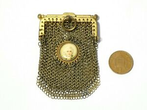 Antique Chain Mail Coin Purse with Small Pictorial Cabochon of Gent's Head