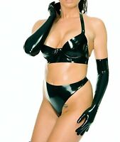 Women 100%Latex Rubber Lingerie Set Bra Gloves and Thong Brief Club Sexy Costume