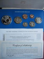 Solomon Islands 1977 Proof coin set Cent - 5$ Silver Dollar COA by Franklin Mint