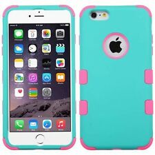 """Teal / Pink Hard Soft Rubber TUFF Armor Hybrid Cover Case For iPhone 6 Plus 5.5"""""""