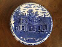 Antique President Coolidge Home Souvenir Blue & White Plate Trivet Adams Vermont