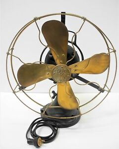 Vintage GENERAL ELECTRIC FAN with Brass Blade No. 1098715 110 Volt