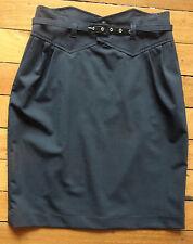 Moss & Spy designer elegant black wool blend covered belt skirt size 12 (US 8)