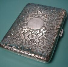 1894 Antique sterling silver 925 Hand Engraved UK leather inner pencil card case