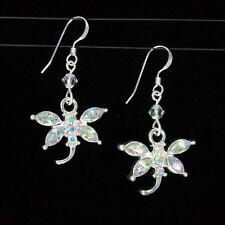*SJ1* Sparkly AB Dragonfly Sterling Silver Hook Dangle Earrings w/ Swarovski
