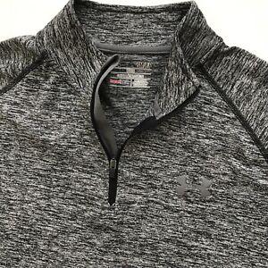 EUC UNDER ARMOUR 1/4 Zip HeatGear Loose Pullover Shirt MEN'S Black Heather S