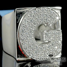 MEN NEW 14K WHITE GOLD OVER STERLING SILVER A++ CZ'S LETTER G INITIAL RING BAND