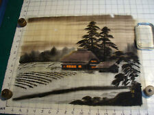 vintage Japanese Painting fabric: House lights one, plants in garden, dark