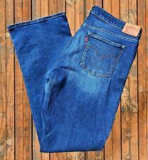 LEVI 715 Blue Stretch Denim Jeans - W33 L32 - Bootcut Short Flare Rare Vintage