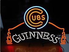 """Guinness Chicago Cubs Neon Sign 20""""x16"""" Beer Light Lamp Bar Display Windows"""