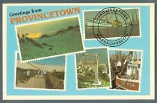 Provincetown Ma  multiview postcard c1980 - postage postmark style