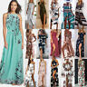 Summer Boho Womens Vintage Floral Long Maxi Dress Holiday Party Sundress UK 6-20