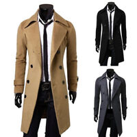 Mens Long Trench Outwear Overcoat Slim Fit Wool Blend Coat Casual Jacket Formal