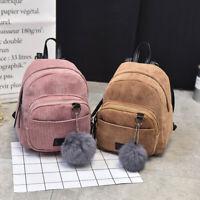 Womens Girls Mini Corduroy Backpack Rucksack Shoulder Bags Travel Handbags Purse