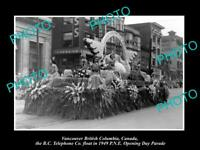OLD HISTORIC PHOTO OF VANCOUVER CANADA, PNE PARADE, 1949 BC TELEPHONE Co FLOAT