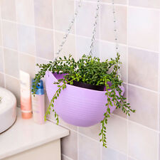 Hook Hanging Chain Flower Pot Basket Planter for Garden Home Decor Purple