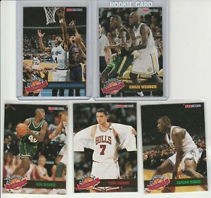 90's INSERTS LOT (5/10) 1993-94 HOOPS MAGIC'S ALL-ROOKIE TEAM WEBBER PENNY RC
