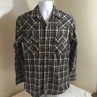 Plains Western Wear Mens Pearl Snap Cowboy Shirt Long Sleeve Brown Plaid Small